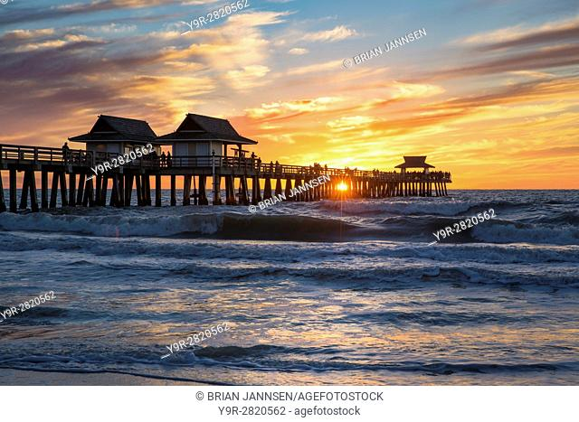 Winter sunset over the Naples Pier, Naples, Florida, USA