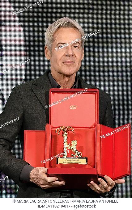 Claudio Baglioni receives the 'Amico di Sanremo ' Award (Friend of Sanremo) during the final press conference of 69th Sanremo Music Festival, Sanremo
