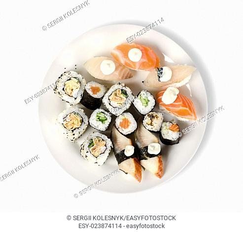 Sushi and rolls in a plate with sticks isolated on a white background. Clipping path