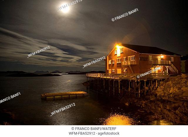 House on Full Moon, Solvaer, Vestfjord, Lofoten, Norway