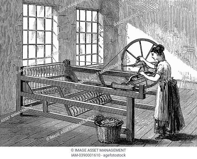 Woman using Spinning Jenny - Invented by James Hargreaves c1720-78 in 1764  Wood engraving c1880