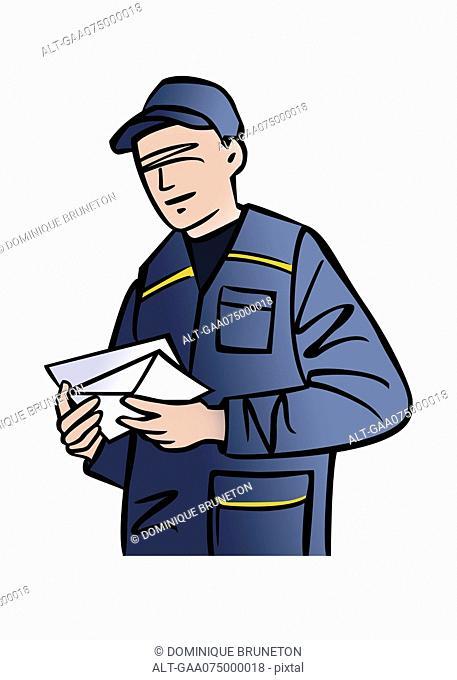 Illustration of a mailman