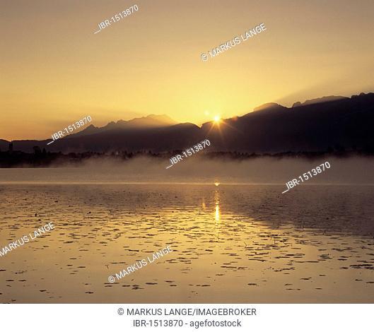 Sunrise at Hopfensee lake, Ostallgaeu district, Bavaria, Germany, Europe