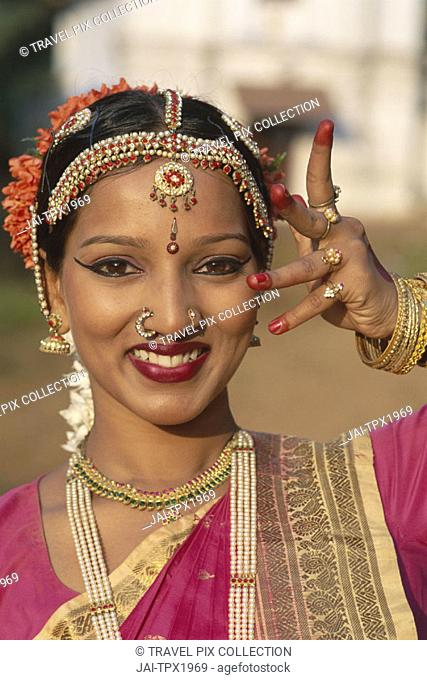 Female Dancer / Woman Dressed in Traditional Costume, Mumbai (Bombay), Maharastra, India