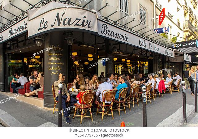 People Sharing Drinks in Abesses Montmartre Area, French Bistro, Café Restaurant Terrace 'Le Nazir'