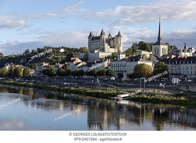 Loire river at historic Château de Saumur, Maine-et-Loire, Pays de la Loire, France