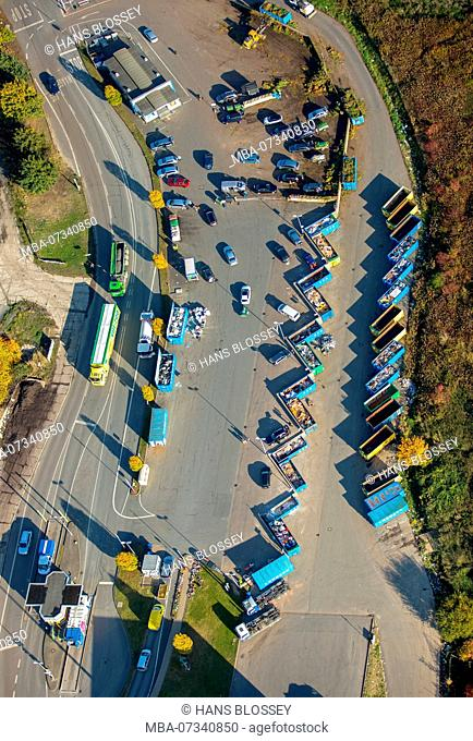 Aerial view, recycling yard Hamm at the Lausbach, landfill, recycling center, waste separation, recycling, colorful containers, Hamm, Ruhr area