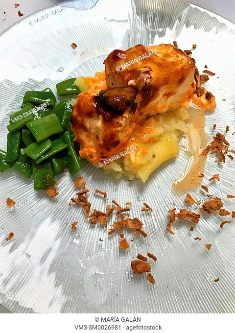 Codfish loin with vegetables. Spain