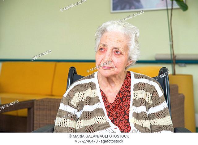 Elderly woman in a nursing home
