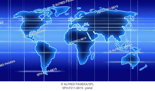 Computer artwork of a world map illustration with indicated time zones