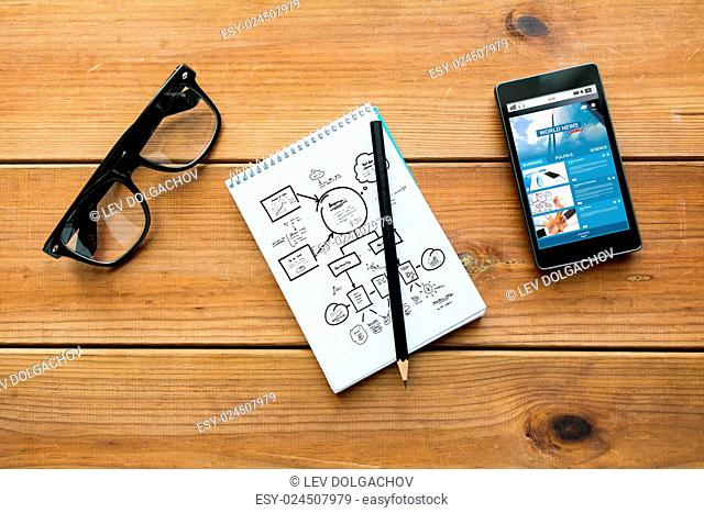 mass media, business, planning and technology concept - close up of scheme drawing in notepad with pencil, with world news on smartphone and eyeglasses on...