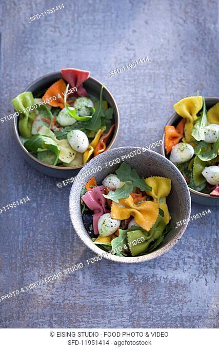Colourful farfalle pasta salad with mini mozzarella balls and basil