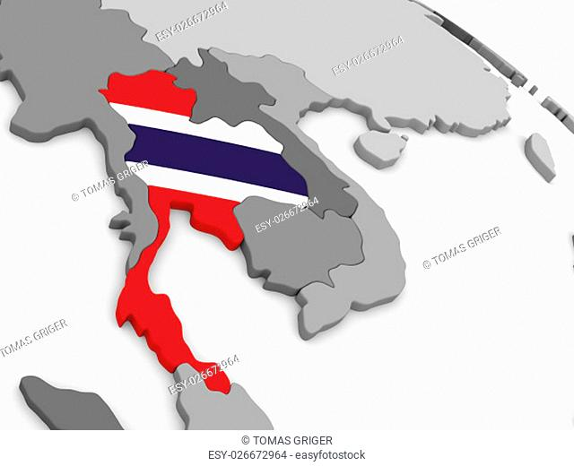 Map of Thailand with embedded national flag. 3D illustration