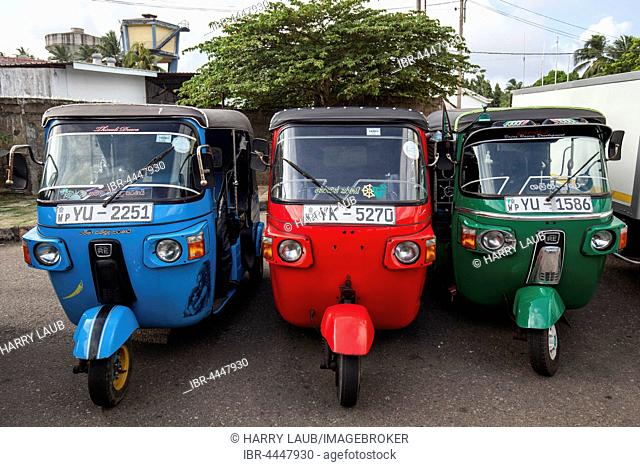 Passenger transport, parked tuktuks, Beruwela, Western Province, Sri Lanka