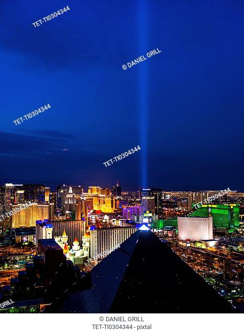 Nevada, Las Vegas, View of city at night