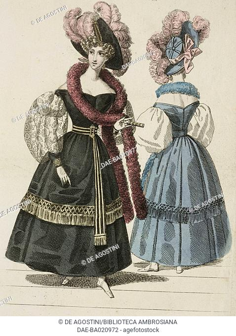 Woman wearing a dark dress with puffed sleeves, burgundy scarf and black hat, adorned with pink feathers and a woman wearing the same dress and hat in blue...