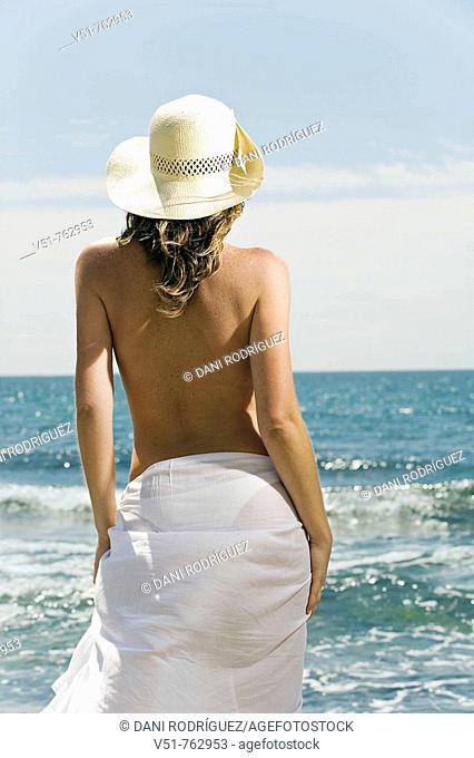 woman, sea, back, young adult