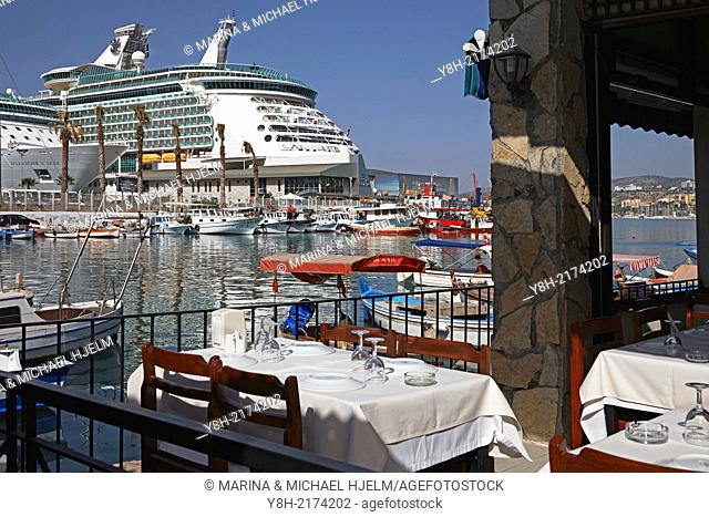 Cruiser Splendour of the Seas and Navigator of the Seas docked in the harbour of Kusadasi, Turkey