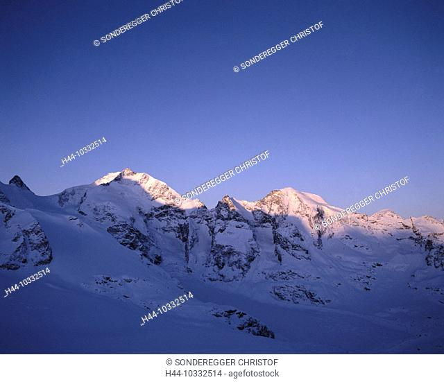10332514, scenery, Alps, mountains, dusk, twilight, summit, peak, afterglow, alpenglow, canton Graubünden, Grisons, Switzerlan