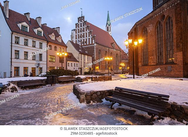 Winter evening in Riga old town, Latvia
