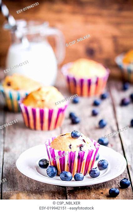 homemade blueberry muffin with milk