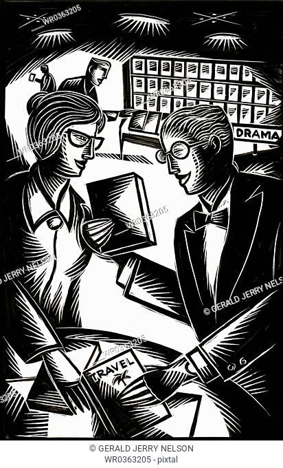 man and woman at library