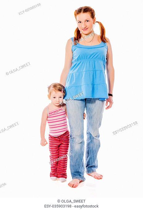Mother walking daughter