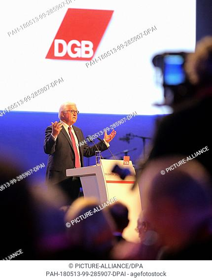 13 May 2018, Germany, Berlin: German President Frank-Walter Steinmeier delivers a speech at the conference of the German Trade Union Confederation (DGB)