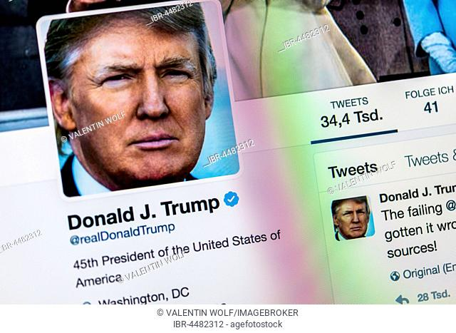Official Twitter Page of Donald J. Trump, @realDonaldTrump, President of the United States of America, Screenshot