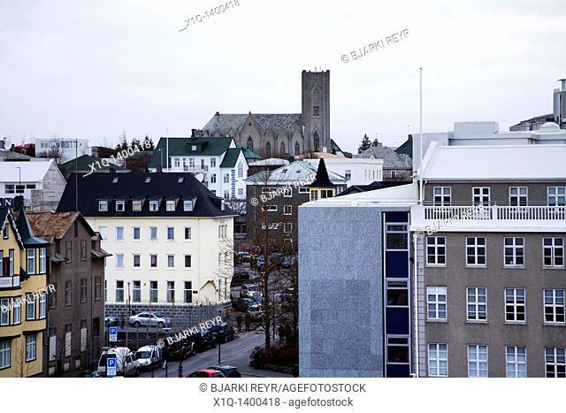 View over downtown Reykjavik, as seen from famous 'Hotel Borg'  'Landakotskirkja' Catholic church C  Downtown Reykjavik, Iceland