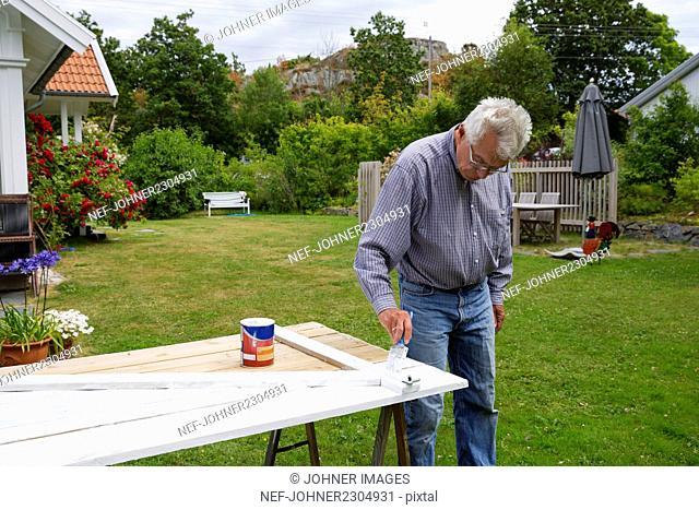Man painting wooden door in garden