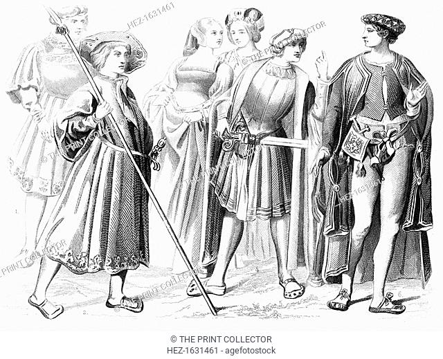 French noblemen and women, a yeomen of the guard and a gentleman, 15th century (1849). The image of the yeoman comes from a tapestry in the Church of St Paterne...
