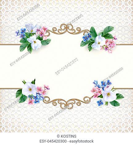 Vintage gold frame. Decorative retro border and flowers. Luxury wedding background