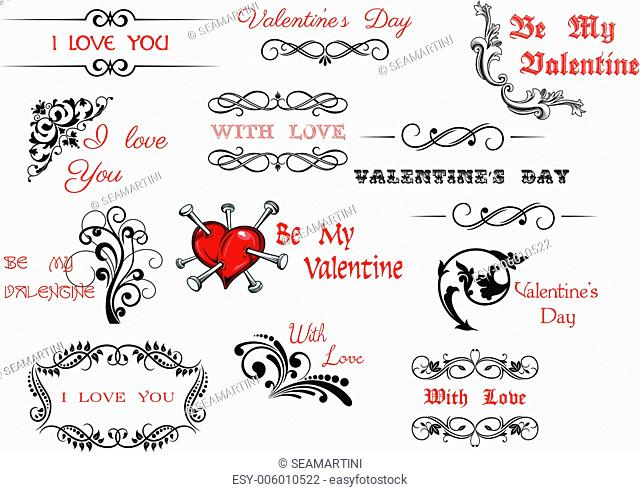Valentine's Day scripts and decorations for holiday design