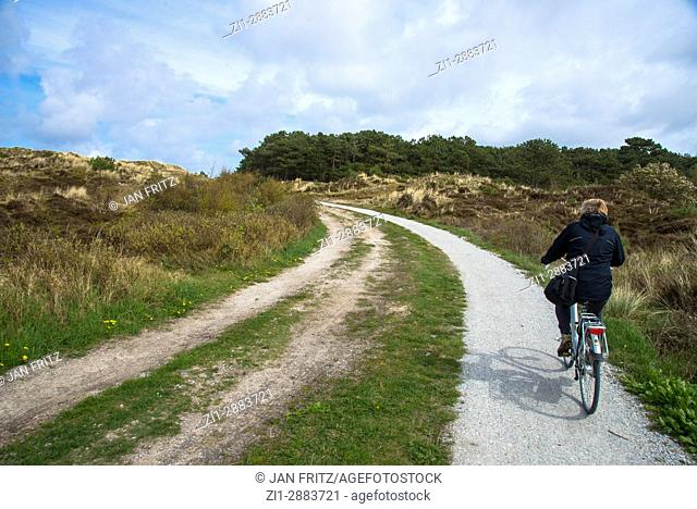 cyclist at cyclepath at terschelling, holland