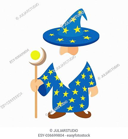 Old wizard cartoon character. Medieval magician on a white background