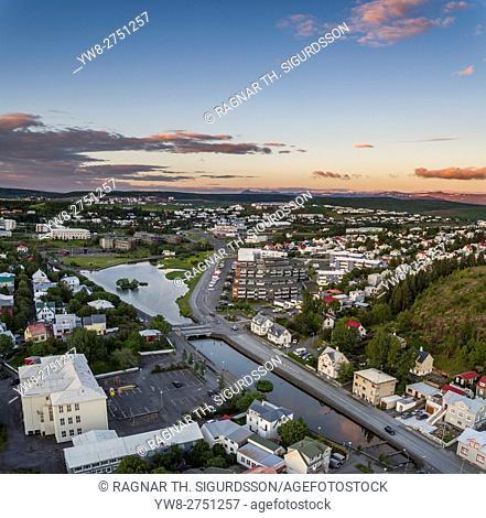 Aerial view of Hafnarfjordur, a suburb of Reykjavik, Iceland