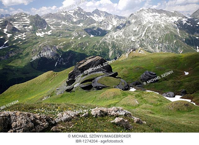 Black clay formation of a former ocean bed on the edge of a tectonic plate, lake, Passo di Gana Negra, Lukmanier Pass, Ticino, Switzerland, Europe