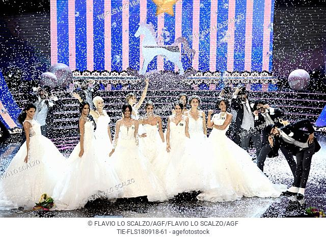 Contestants on stage at the final of Miss Italia 2018, Milan, ITALY-17-09-2018