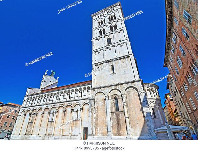the magnificent church of St Michele in Foro in Lucca, one of the best examples of the Pisan romanesque style