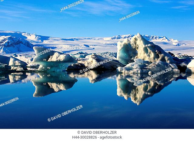 Mountains, Breidamerkurjökull, ice, floes, Europe, glacier, glacier lagoon, Island, Jökulsarlón, sceneries, reflexion, volcano island, water, winter