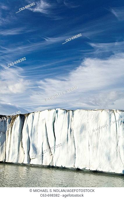 Late evening views of the Negrebreen Glacier melting in the sunlight on Spitsbergen Island in the Svalbard Archipelago, Barents Sea, Norway