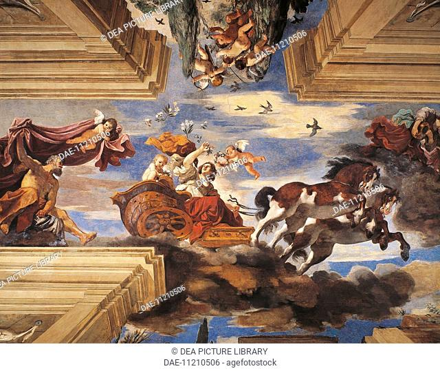Aurora, 1621, by Giovanni Francesco Barbieri, known as Guercino (1591-1666), fresco. Casino of the Villa Ludovisi, Rome