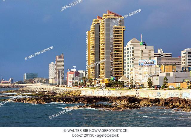 Chile, Antofagasta, beach side city view