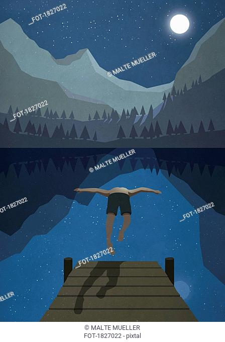 Moonlight shining over man jumping off dock into tranquil mountain lake