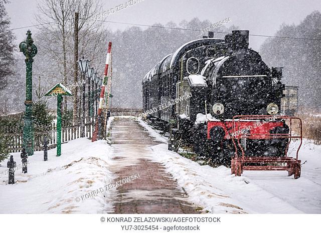 Old locomotive on Bialowieza Towarowa former railway station in Bialowieza village located in the middle of Bialowieza Forest in Poland
