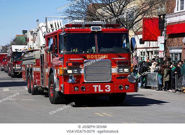 Boston firetruck, St. Patrick's Day Parade, 2014, South Boston, Massachusetts, USA