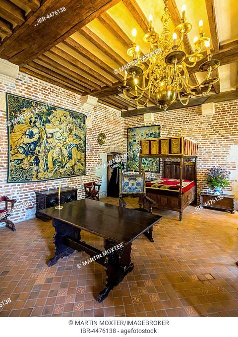 Living room, Leonardo da Vinci Museum, Château du Clos Lucé, Amboise, Indre-et-Loire, Loire Valley, Centre, France