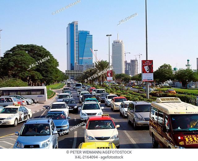 Dubai, traffic jam, United Arab Emirates