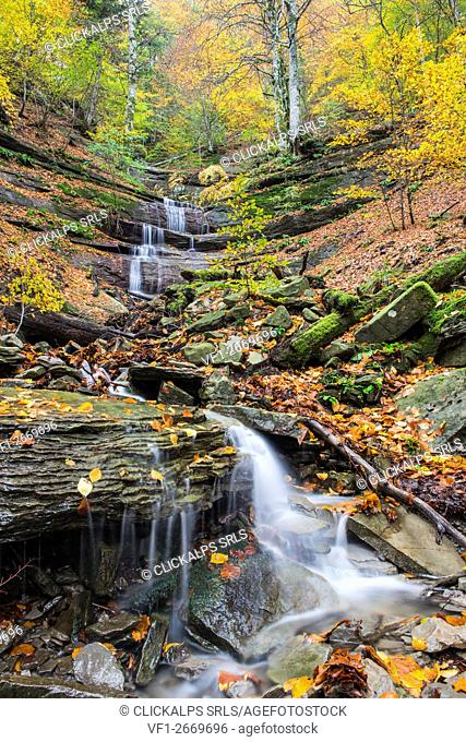 Waterfall in Autumn, Sasso Fratino Integral Natural Reserve, Emilia Romagna district, Italy